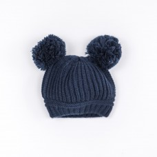 Double Navy Pom Pom Hat